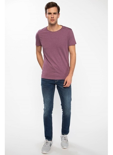 DeFacto Bsiklet Yaka Slim Fit Basic T-shirt Mor